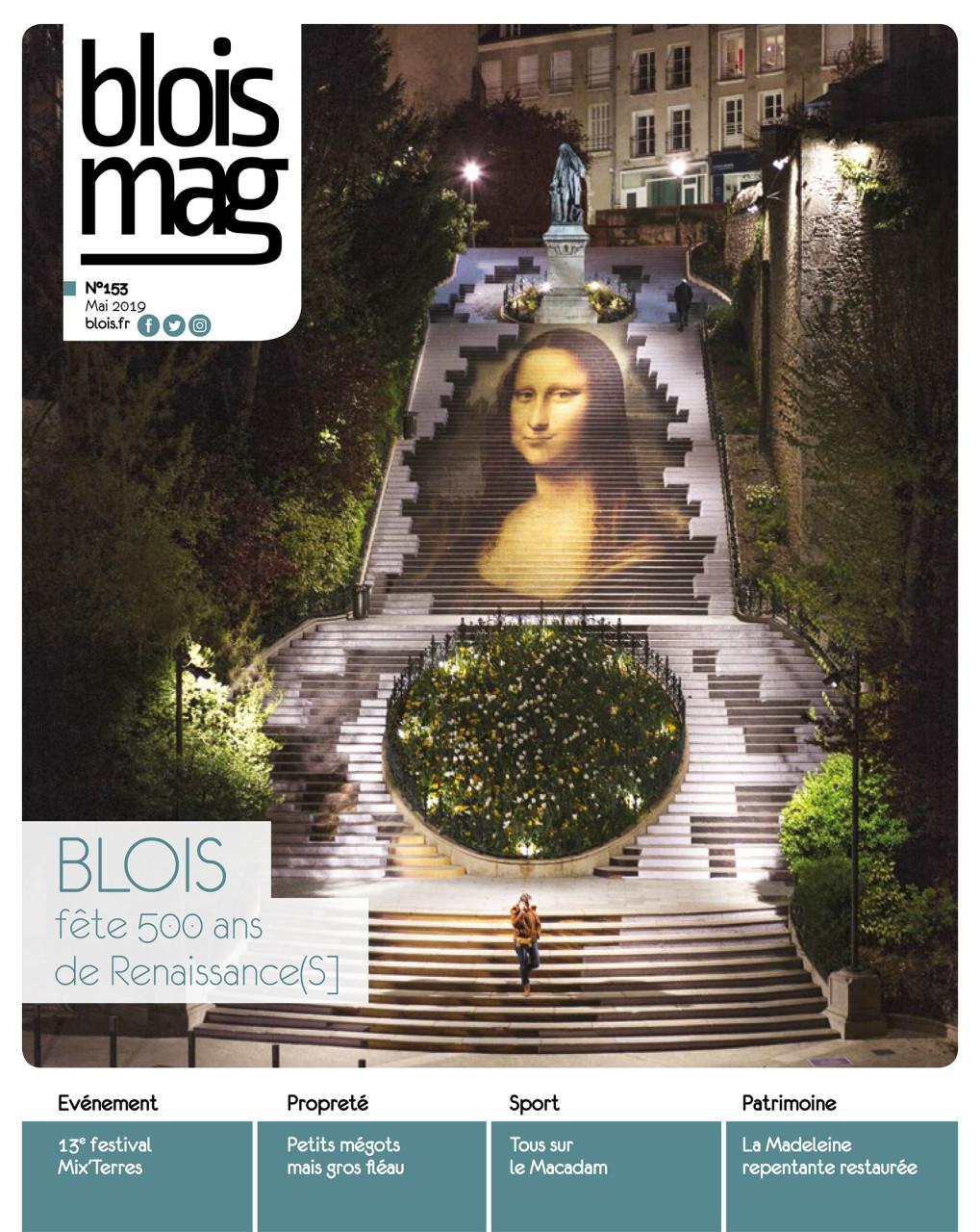Parution en Une dans Blois Mag de mai 2019 : Photo des escaliers © Ville de Blois - Nicolas Wietrich