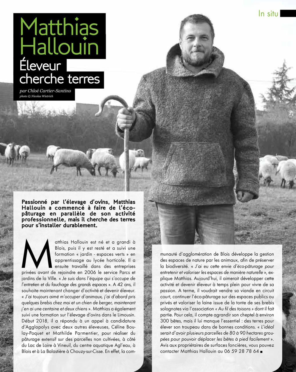 Parution dans Blois Mag de janvier 2020 : Texte Chloé Cartier-Santino. Photo © Nicolas Wietrich