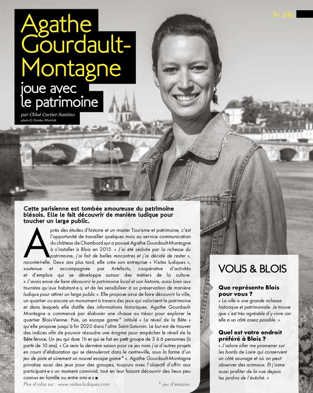 Parution dans Blois Mag de juillet/août 2020 : Texte Chloé Cartier-Santino. Photo © Nicolas Wietrich