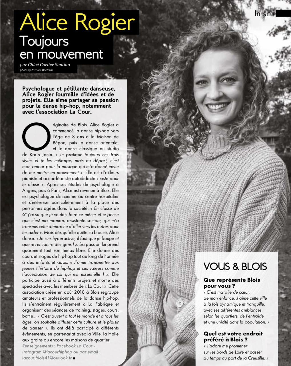 Parution dans Blois Mag de janvier/février 2021 : Texte Chloé Cartier-Santino. Photo © Nicolas Wietrich