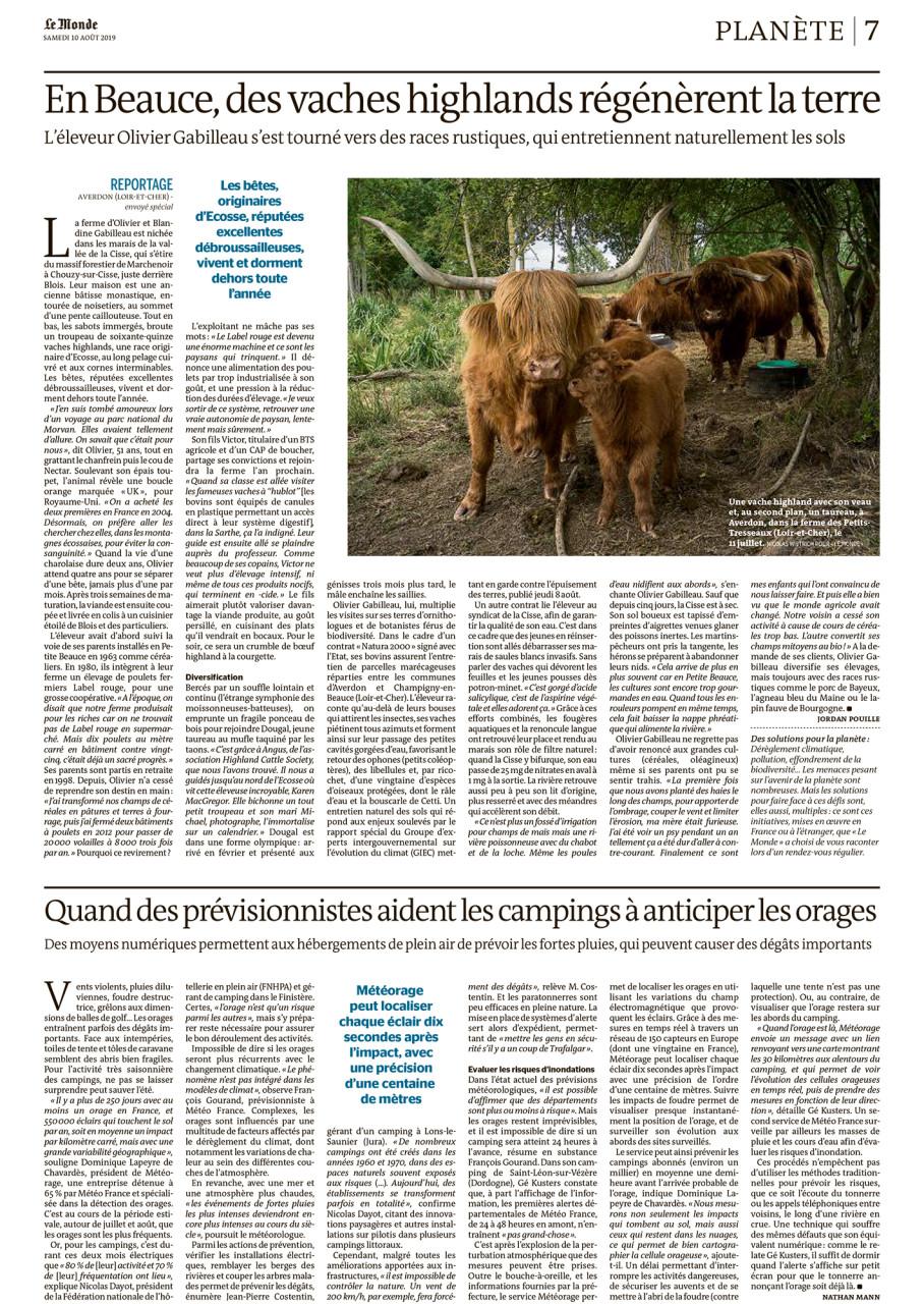 """Parution dans Le Monde du 10 août 2019 : Texte Jordan Pouille. Photo Nicolas Wietrich pour """"Le Monde""""."""