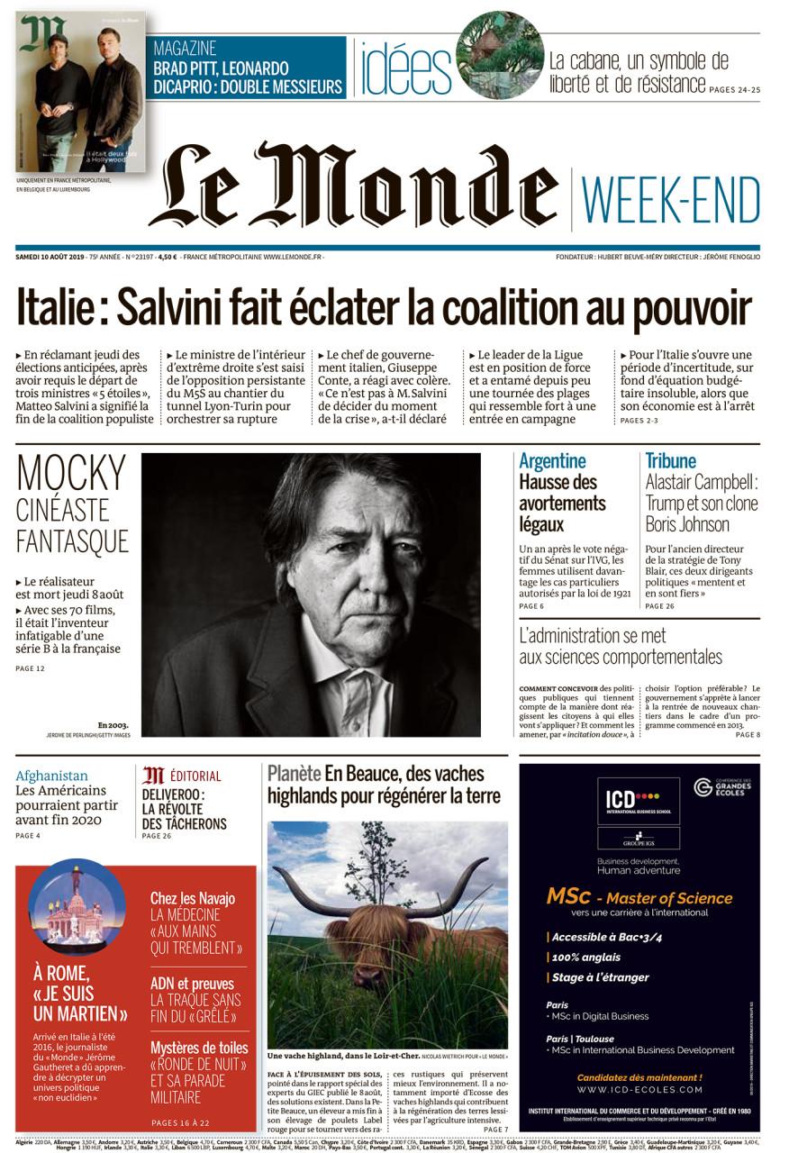 """Parution en Une dans Le Monde du 10 août 2019 : Une vache highland, dans le Loir-et-Cher. Photo Nicolas Wietrich pour """"Le Monde""""."""