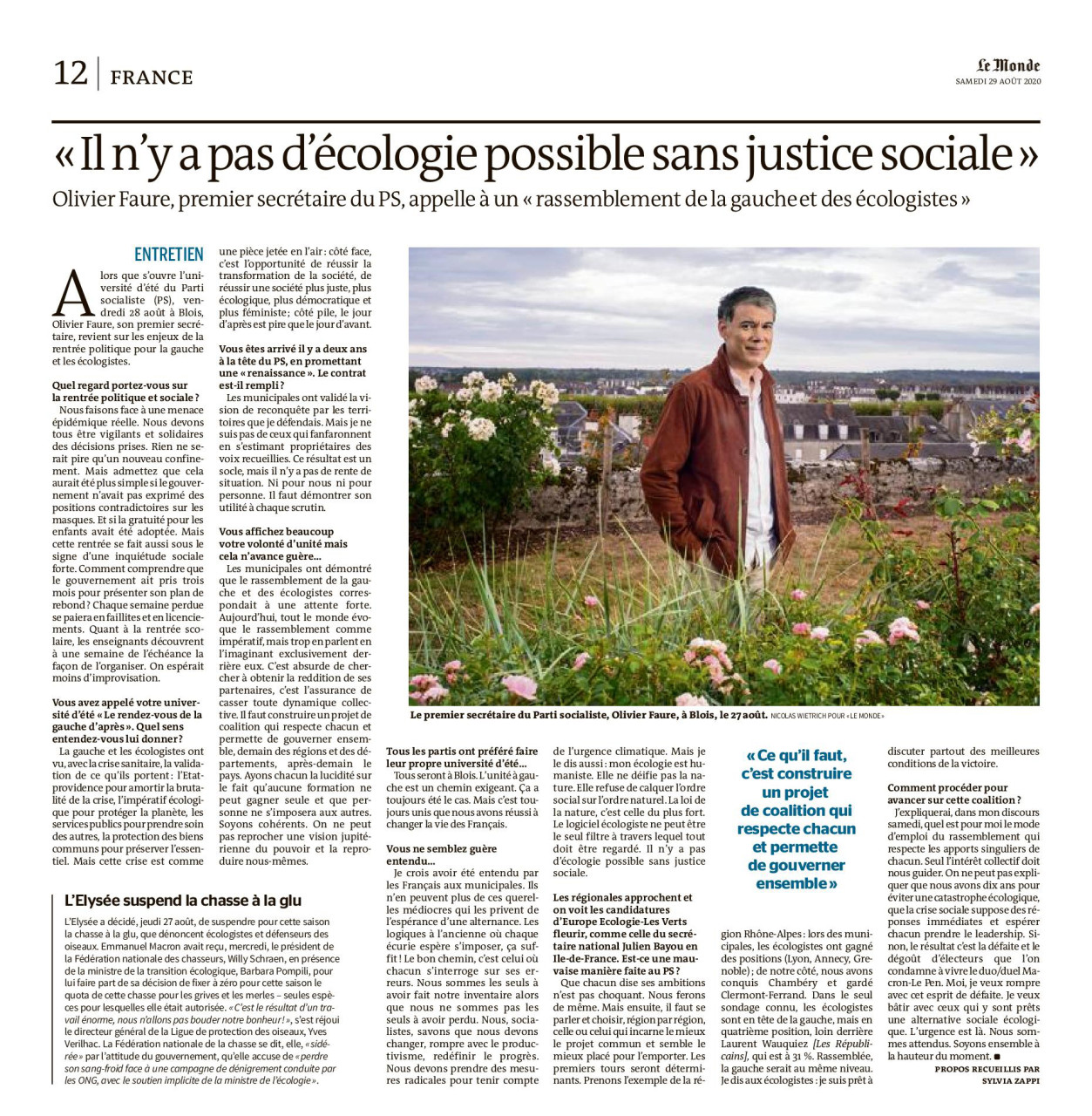 """Parution dans Le Monde du 29 août 2020 : Portrait d'Olivier Faure. Texte Sylvia Zappi. Photo Nicolas Wietrich pour """"Le Monde""""."""