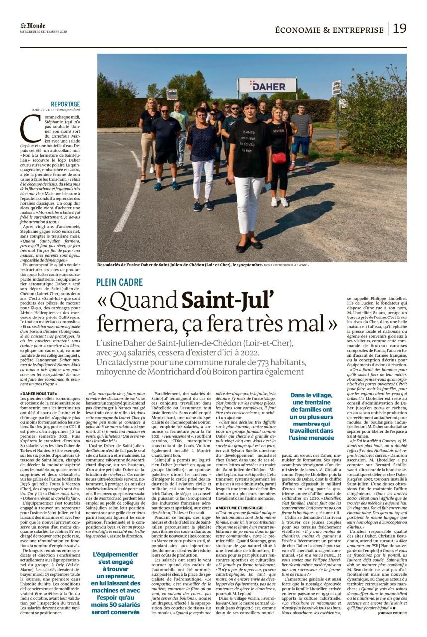 """Parution dans Le Monde du 30 septembre 2020 : Texte Jordan Pouille. Photo Nicolas Wietrich pour """"Le Monde""""."""
