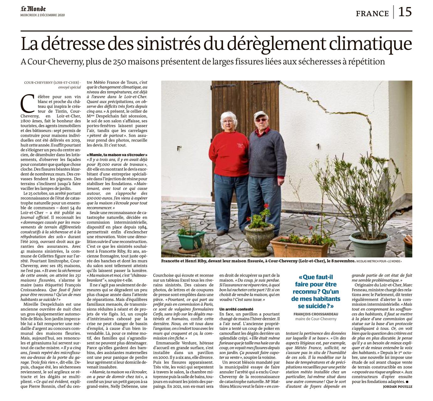 """Parution dans Le Monde du 01 décembre 2020 : Texte Jordan Pouille. Photo Nicolas Wietrich pour """"Le Monde""""."""