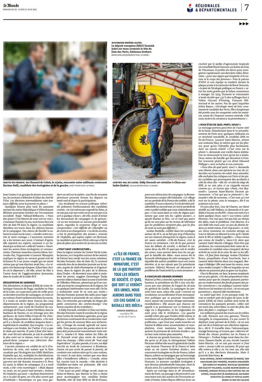 """Parution dans Le Monde du 20 et 21 juin 2021 : Photo Nicolas Wietrich pour """"Le Monde""""."""