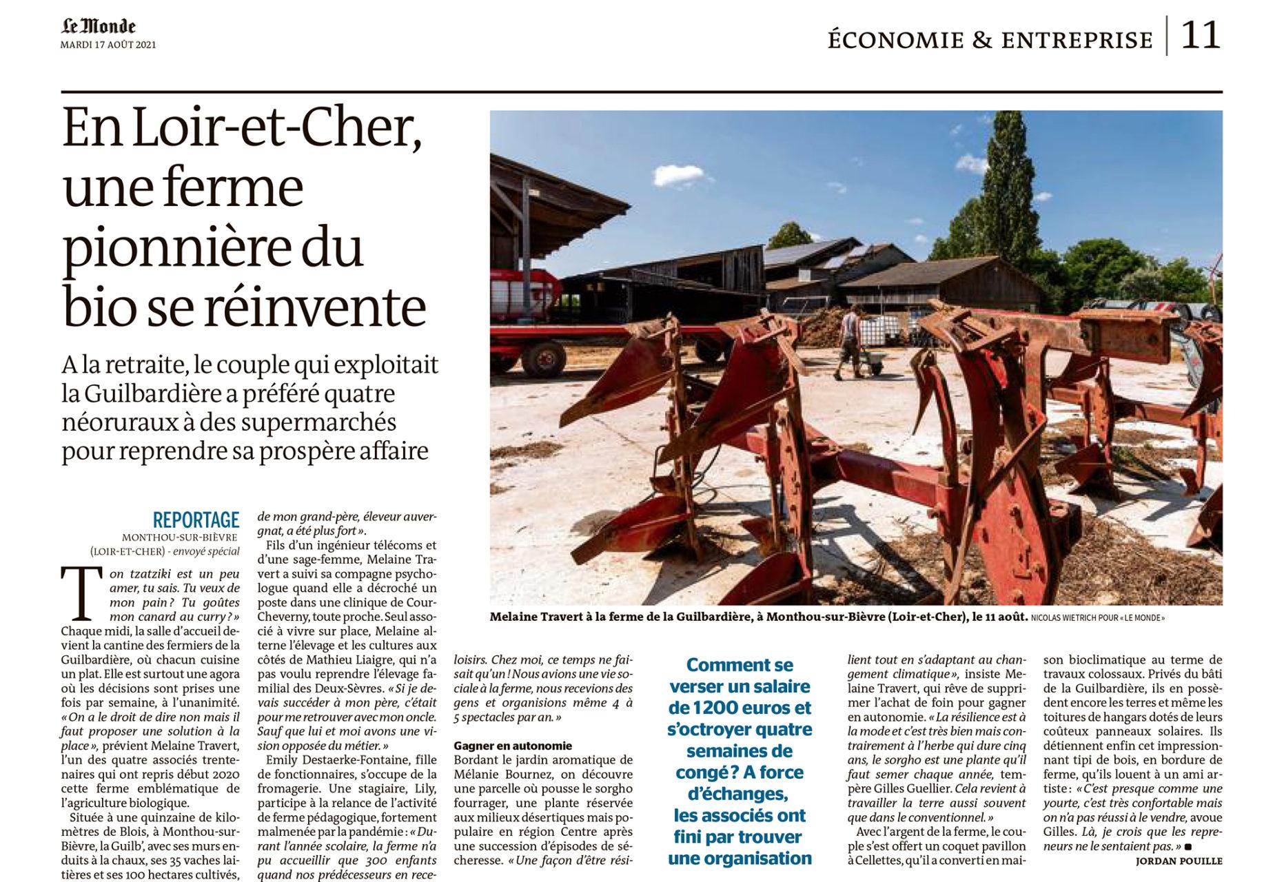 """Parution dans Le Monde du 17 août 2021 : Texte Jordan Pouille. Photo Nicolas Wietrich pour """"Le Monde""""."""