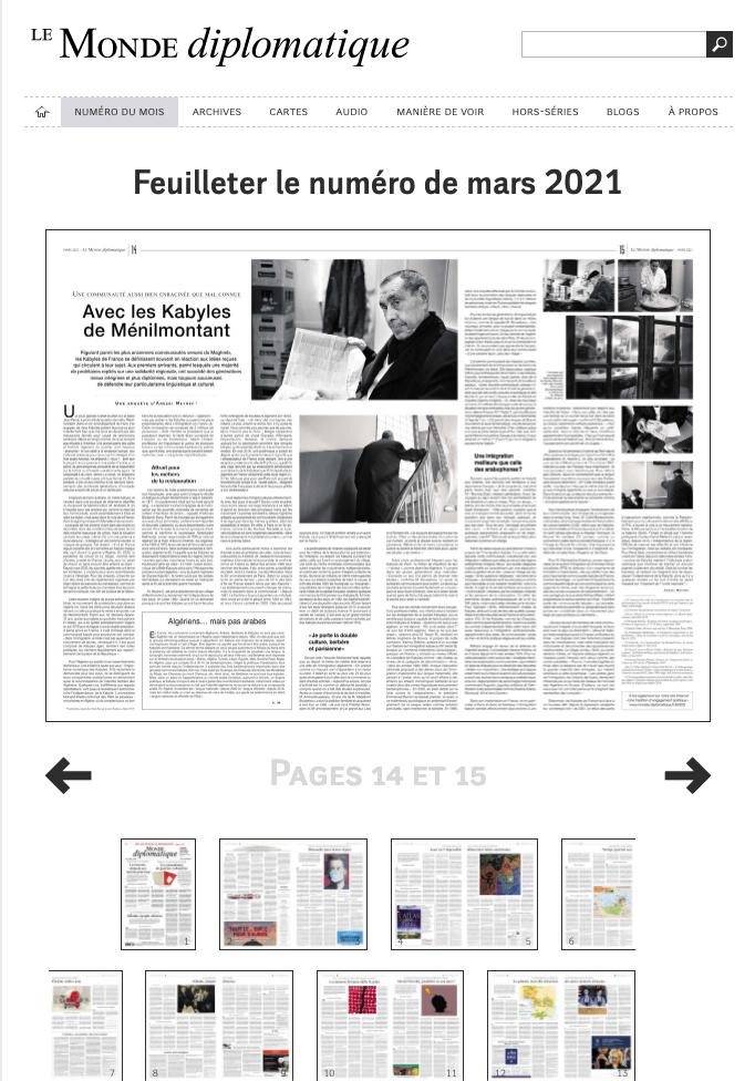 Publication web monde-diplomatique.fr de mars 2021 : Enquête d'Arezki Metref. Photos © Nicolas Wietrich