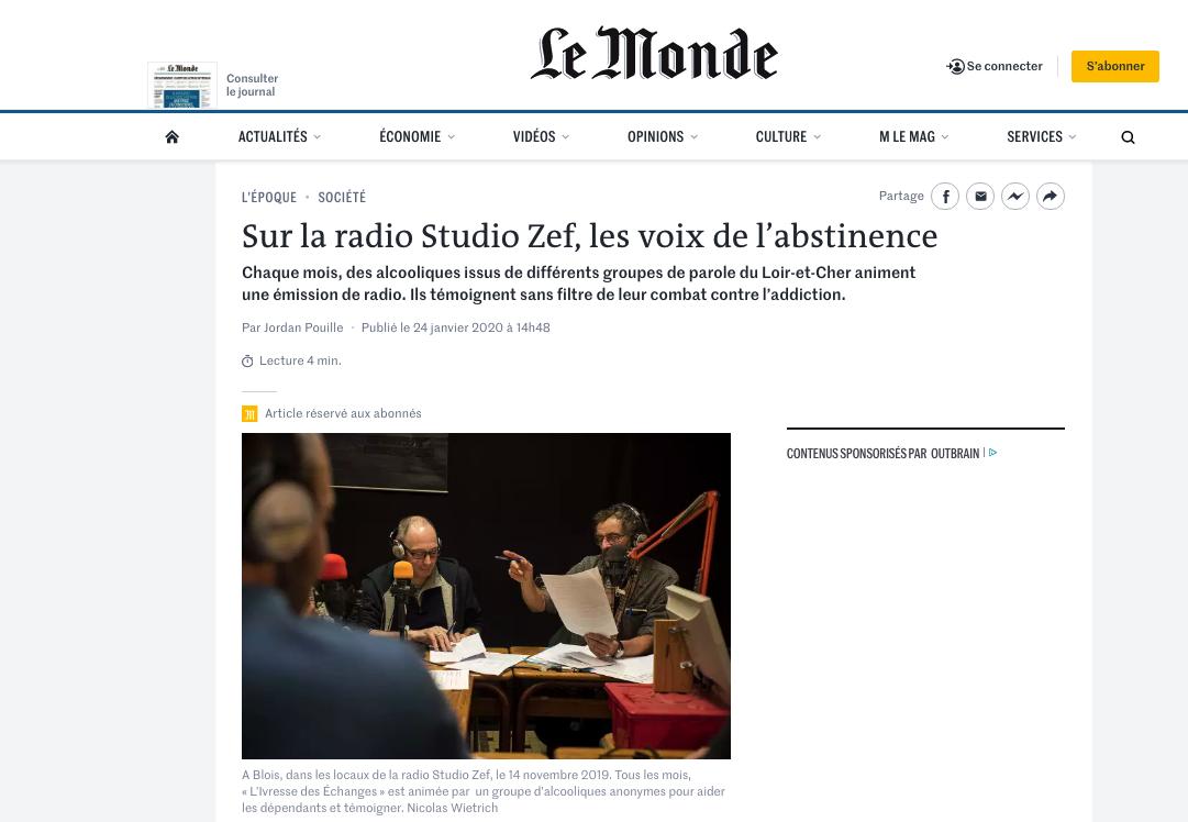 Publication web lemonde.fr du 24 janvier 2020 : Texte Jordan Pouille. Photos © Nicolas Wietrich.