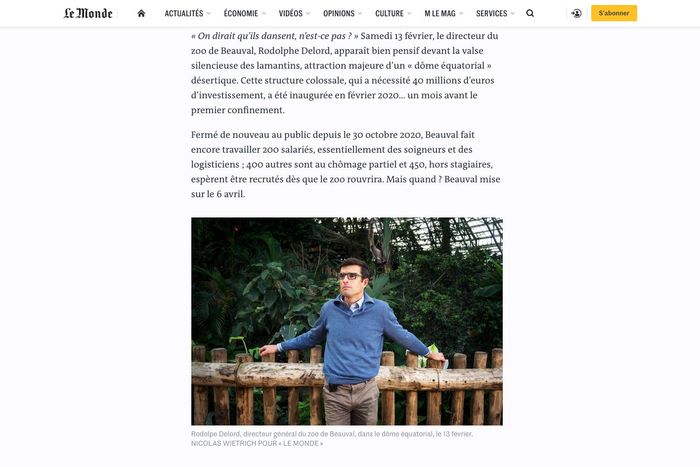 """Publication web lemonde.fr du 18 février 2021 : Texte Jordan Pouille. Photos Nicolas Wietrich pour """"Le Monde""""."""